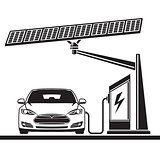 car, solar cell ,electric filling station