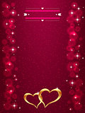 Bright Valentine s day background with golden hearts. Bright gold hearts on the red background.