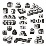 Set of black and white sushi icons