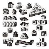 Set of black and white sushi icons