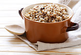 Natural organic buckwheat cereal. Boiled buckwheat porridge in a pot.