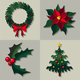 Vector set of christmas floral decorations.