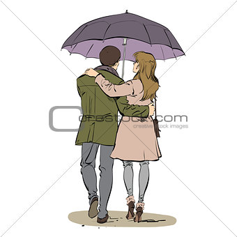 Back a couple man and woman walking under an umbrella