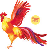 Pencil drawing of a rooster. Vector illustration