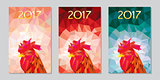 symbol 2017 fire cock poligonal background three different color variations