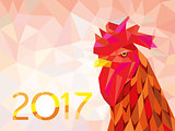 symbol 2017 fire cock poligonal background