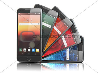 Smartphones with different screens isolated on white. Mobile com