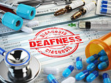 Deafness disease diagnosis. Stamp, stethoscope, syringe, blood t