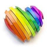 Heart with colors of gay pride LGBT community. Homosexual relati