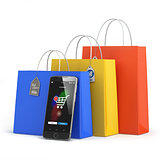Online shopping concept. Mobile phone or smartphone with shoppin