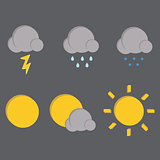 Weather vector icons on dark background