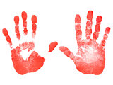 Red prints of the hands