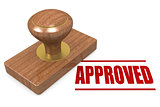 Red approved wooded seal stamp