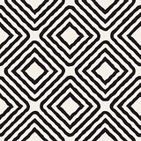 Vector Seamless Black and White Hand Drawn Rhombus Lines Pattern