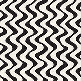 Vector Seamless Black and White Hand Drawn Wavy Lines Pattern