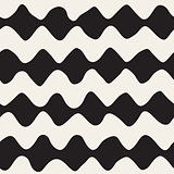 Vector Seamless Black and White Hand Drawn ZigZag Lines Pattern