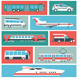 Vector set illustration of color public transport