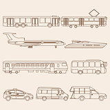 Vector set illustration of line public transport
