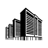 Vector illustration logo silhouette of skyscrapers