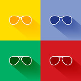 Trendy long shadow flat sunglasses icon set