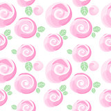 watercolor roses imitation and cute little flowers seamless pattern, vector illustration, editable elements, not a trace