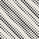 Vector Seamless Black and White Diagonal Halftone Cirle Lines Pattern