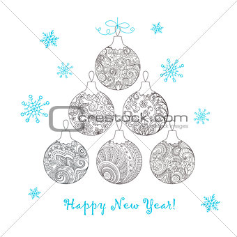 Christmas card with hand drawn decorated balls