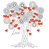 zen tree of love with mandalas