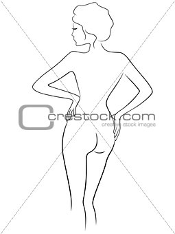 Abstract graceful female with view from the back
