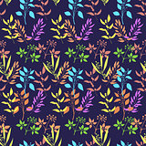 Seamless pattern with colorful twigs silhouette.