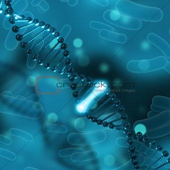 3D medical background with DNA strands