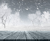 3D wooden table looking out to winter landscape