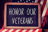text honor our veterans and the flag of the US