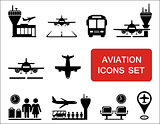 plane and aviation icons with red signboard