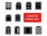 window icons set with red signboard