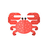 Pink Crab Primitive Style Childish Sticker