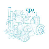 Spa Center Symbols Hand Drawn Realistic Sketch