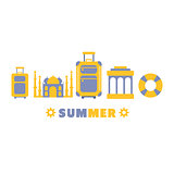 Summer Travel Symbols Set By Five In Line