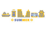 Summer Vacation Symbols Set By Five In Line