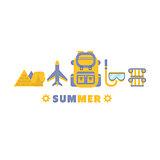 Egypt Summer Trip Symbols Set By Five In Line