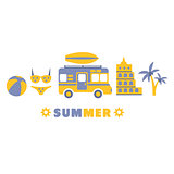 Summer Traveling Symbols Set By Five In Line