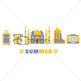 Touristic Summer Vacation Symbols Set By Five In Line