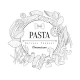 Pasta Assortment Logo Hand Drawn Realistic Sketch