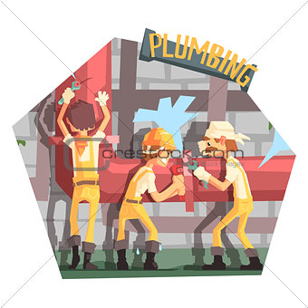 Three Plumbers At Work Funny Scene