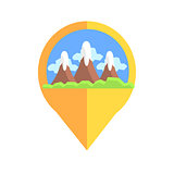 On-line Map Marker With Mountains