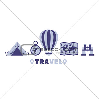 Camping Travel Symbols Set By Five In Line