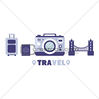 Touristic Trip To Europe Travel Symbols Set By Five In Line