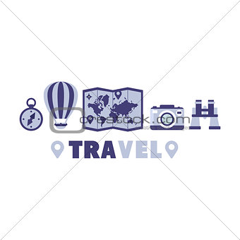 Adventure Travel Symbols Set By Five In Line