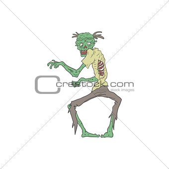 Green Skin Creepy Zombie Outlined Drawing