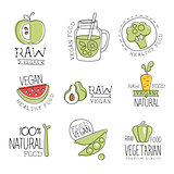 Vegan 100 Percent Natural Products Promo Labels Collection